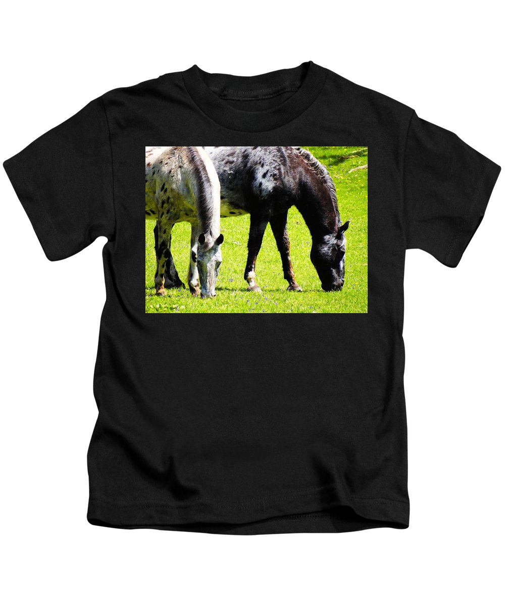 Horses Kids T-Shirt featuring the photograph Lunch For Two Green Options by Lisa Brandel