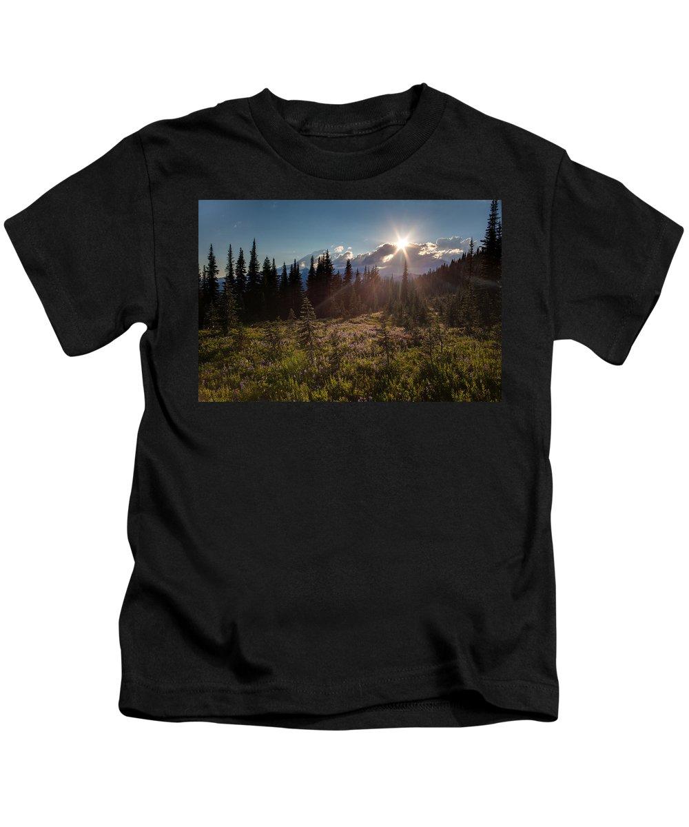 Rainier Kids T-Shirt featuring the photograph Lupine Field Sunstar by Mike Reid