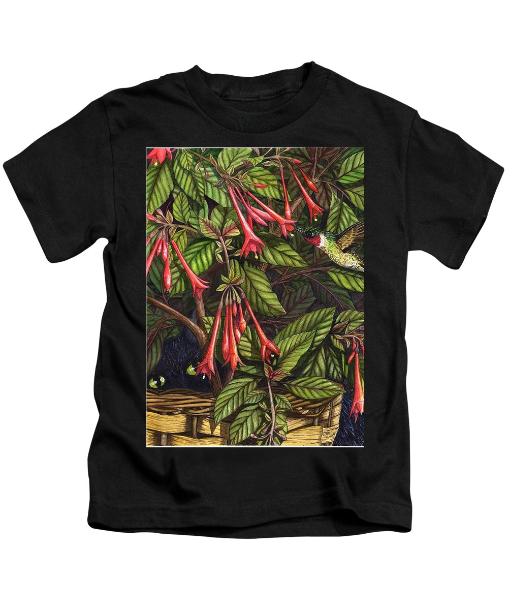 Fuchsia Kids T-Shirt featuring the painting Lurking by Catherine G McElroy