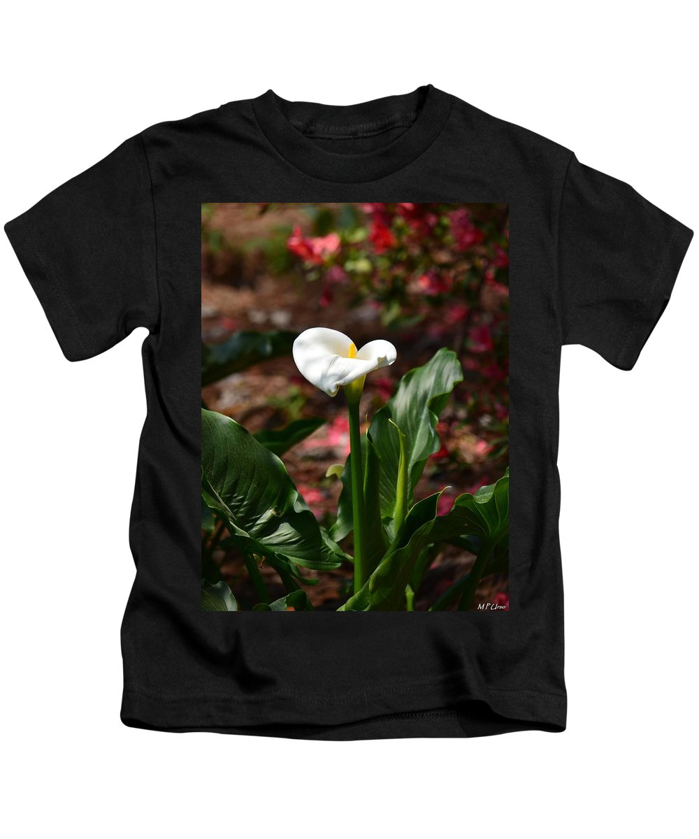 Lush Lily Kids T-Shirt featuring the photograph Lush Lily by Maria Urso
