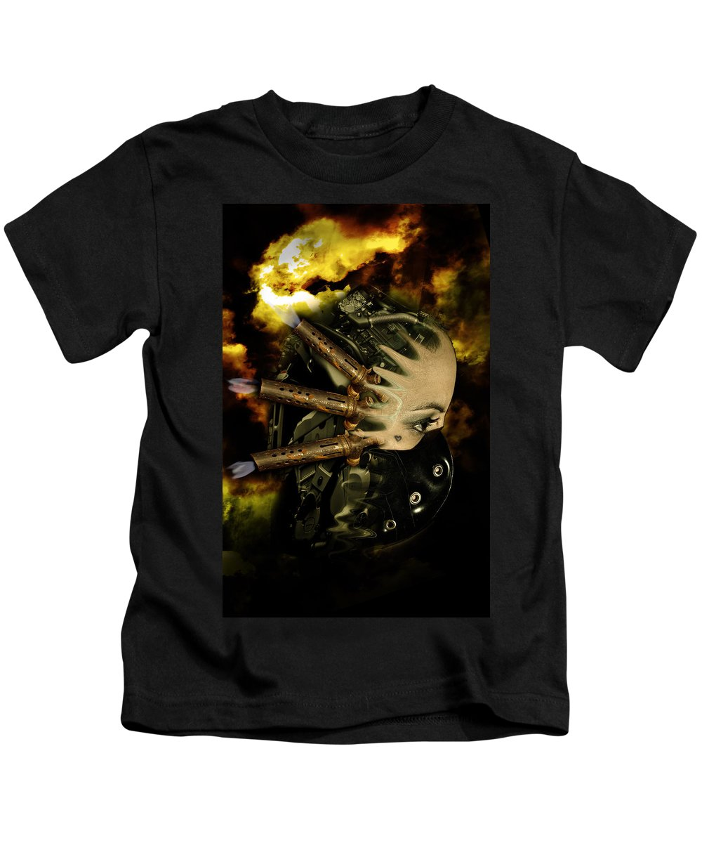 Abstract Kids T-Shirt featuring the digital art Machine Thoughts by Nathan Wright