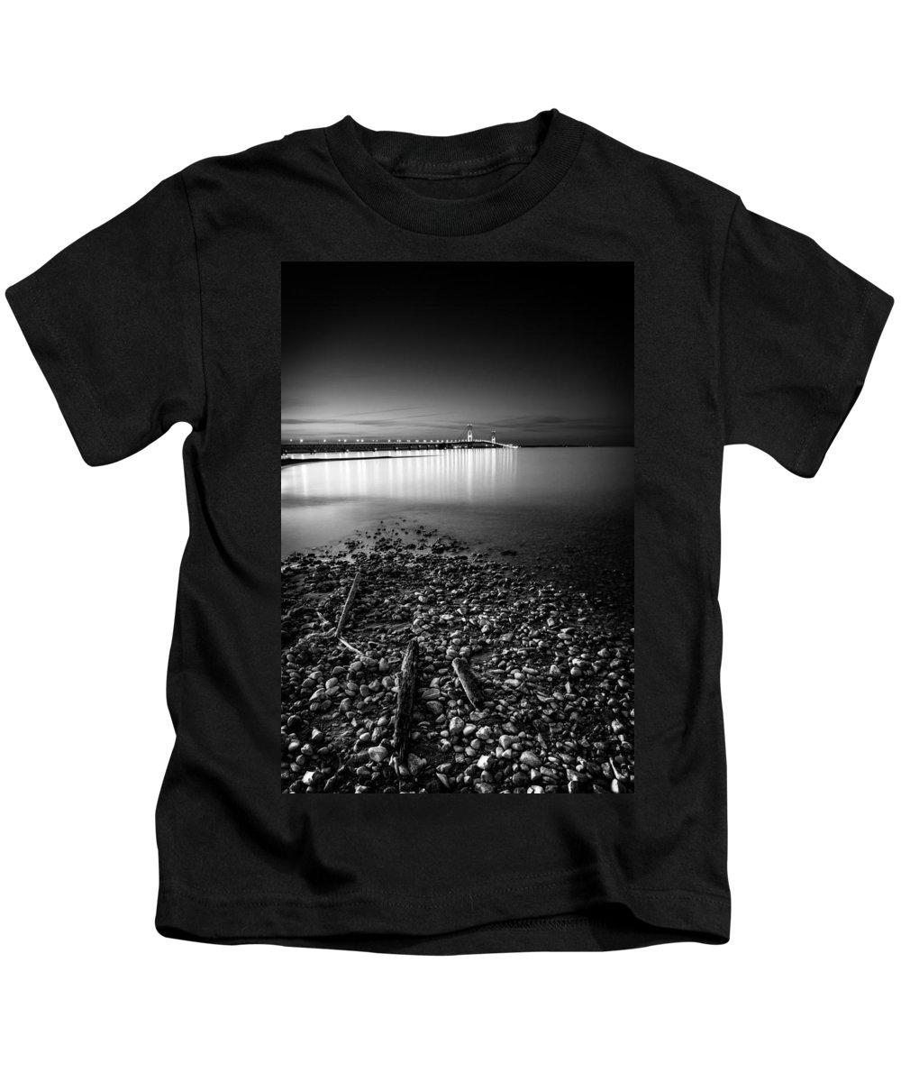 Michigan Kids T-Shirt featuring the photograph Mackinac Bridge Bw by Larry Carr