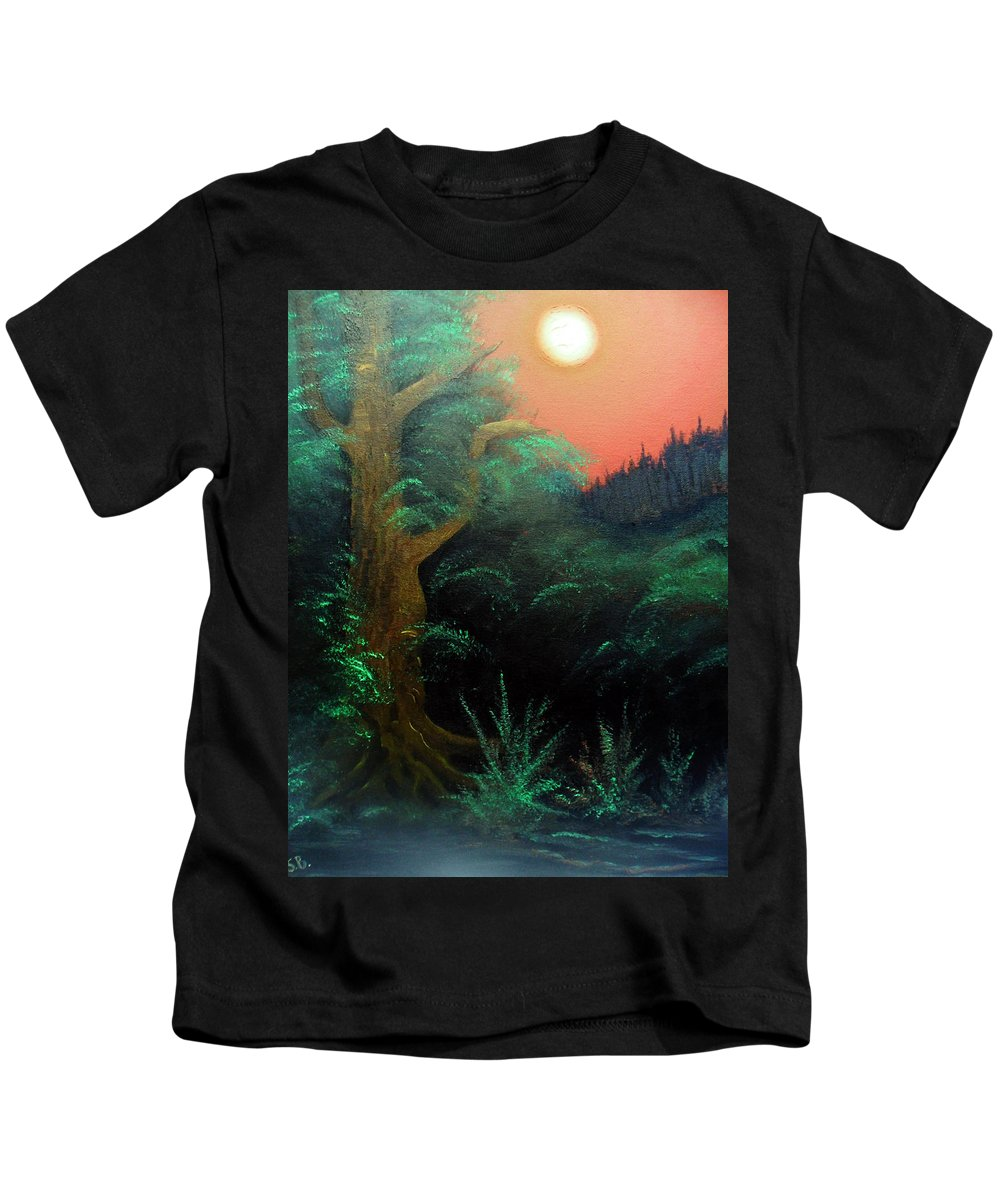 Landscape Kids T-Shirt featuring the painting Magic forest by Sergey Bezhinets