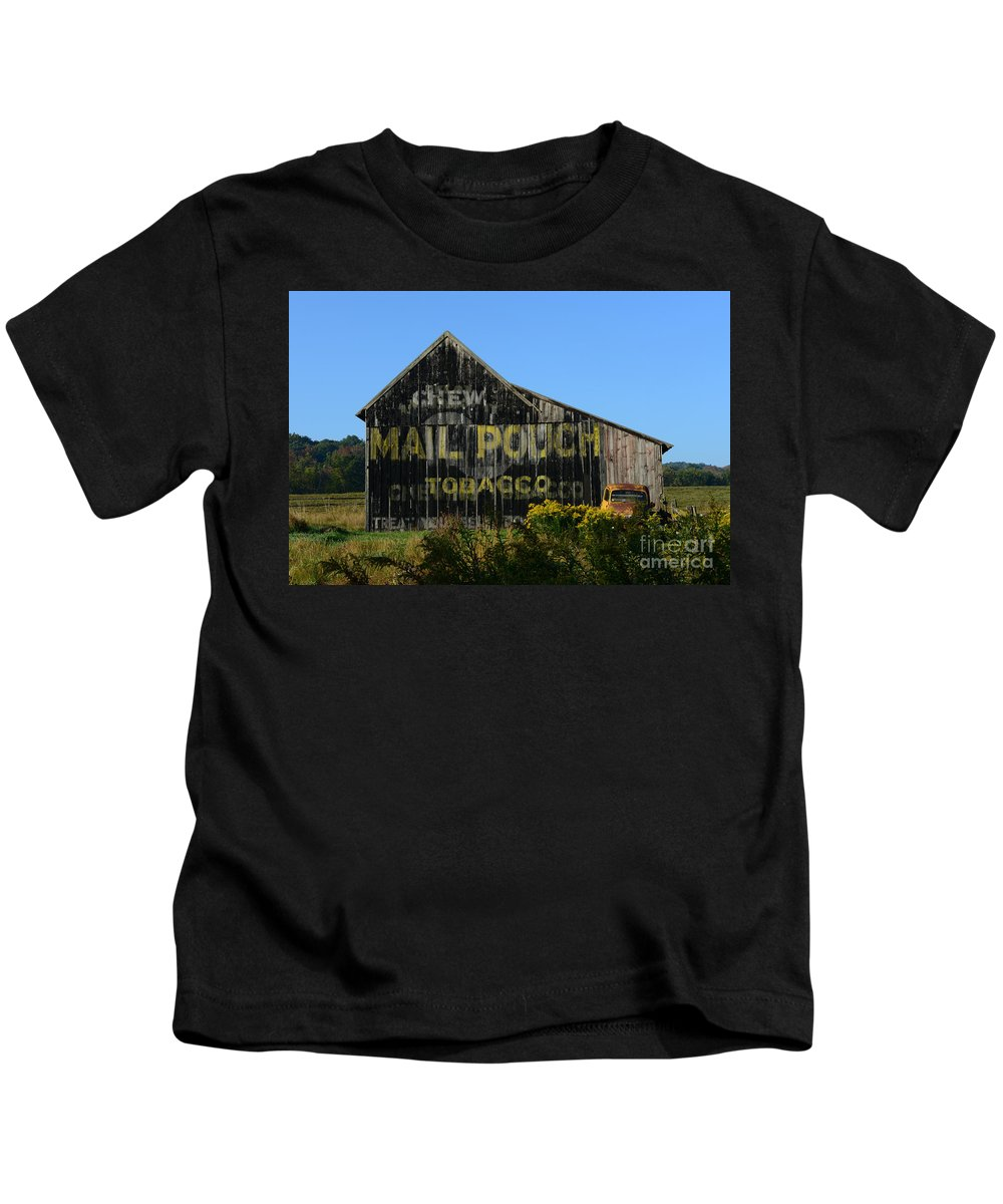 Paul Ward Kids T-Shirt featuring the photograph Mail Pouch Barn by Paul Ward