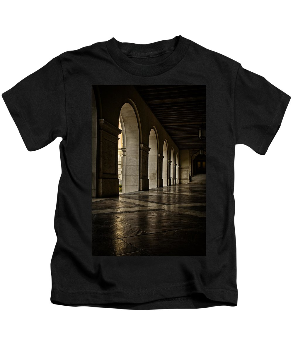 Joan Carroll Kids T-Shirt featuring the photograph Main Building Arches University Of Texas by Joan Carroll
