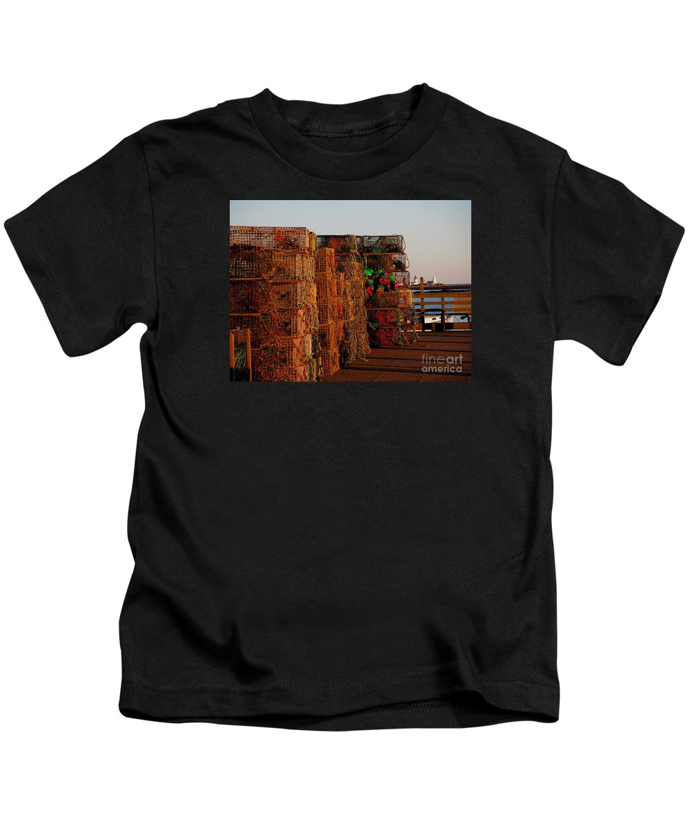 Lobster Traps Kids T-Shirt featuring the photograph Maine Traps by HEVi FineArt