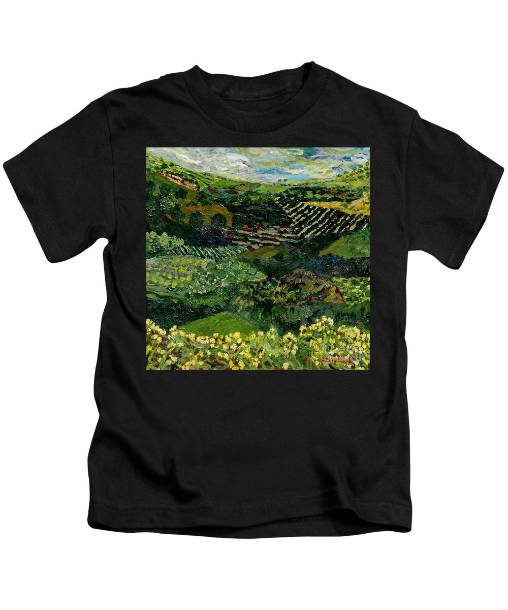 Landscape Kids T-Shirt featuring the painting Majestic Valley by Allan P Friedlander