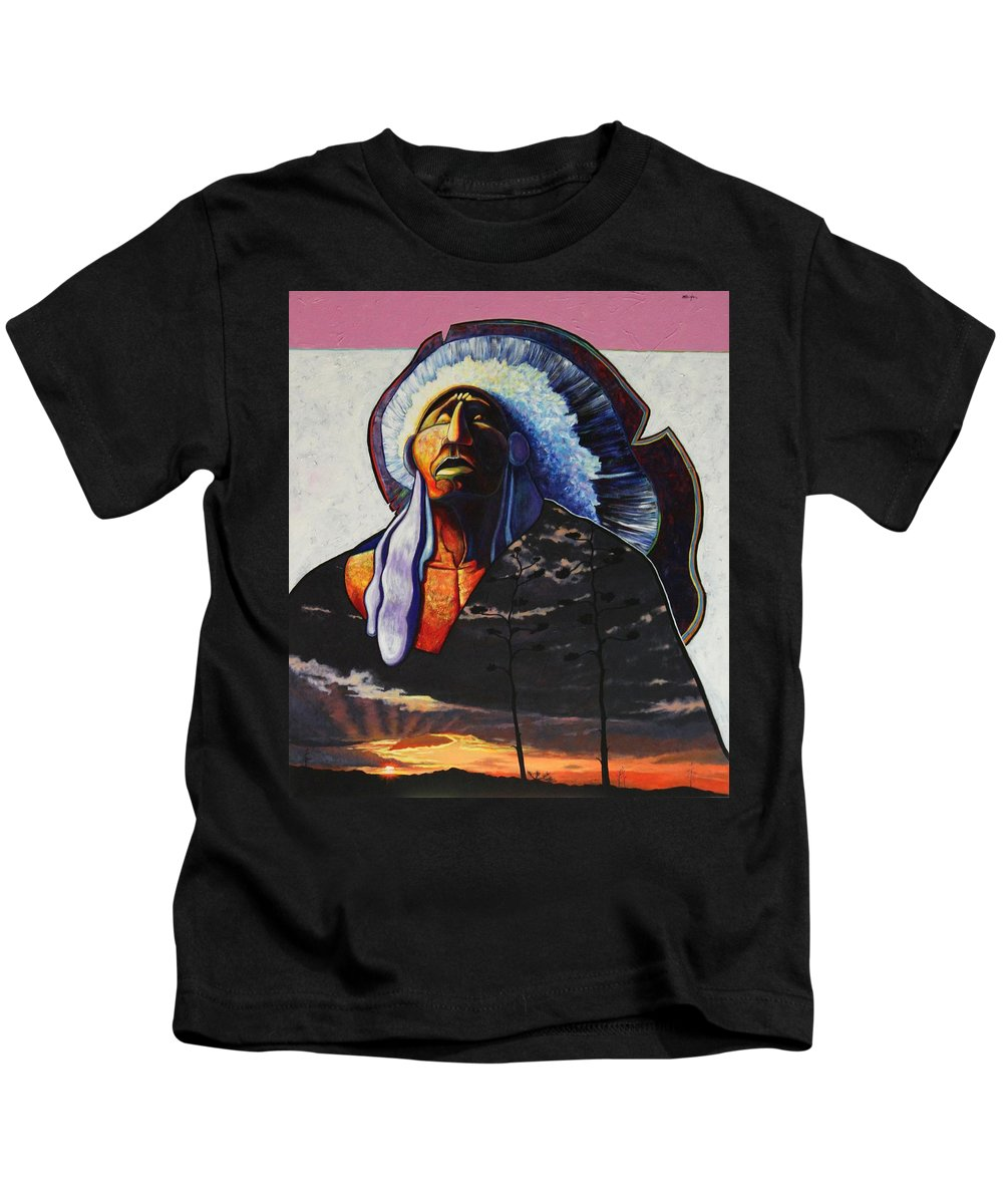 Native American Kids T-Shirt featuring the painting Make Me Worthy by Joe Triano