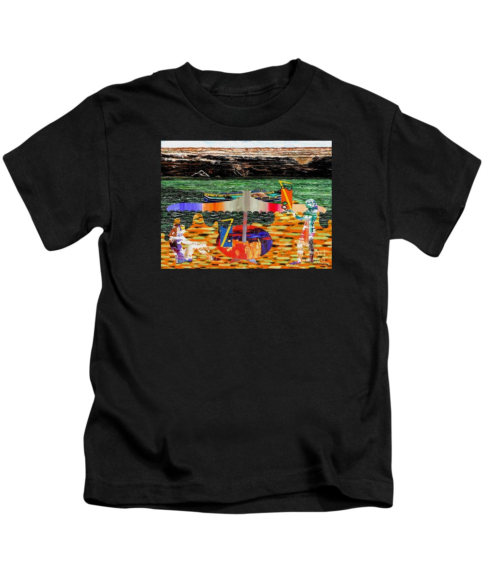 Fine Art Kids T-Shirt featuring the painting The Beach by Patrick J Murphy
