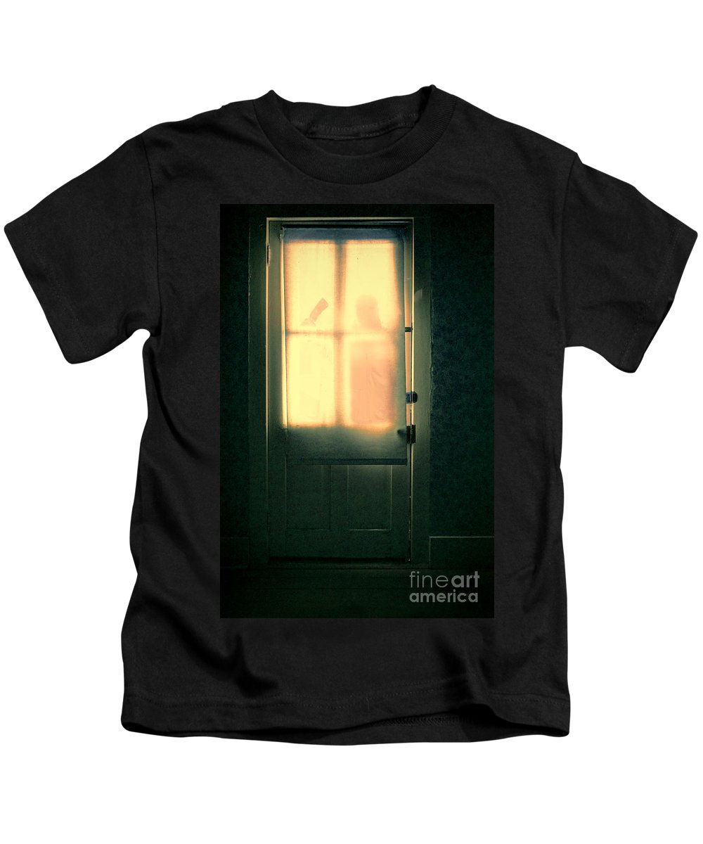 Door Kids T-Shirt featuring the photograph Man At Door With Cleaver by Jill Battaglia