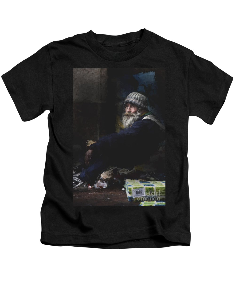 Man In Hat Kids T-Shirt featuring the photograph Man in woolly hat by Sheila Smart Fine Art Photography