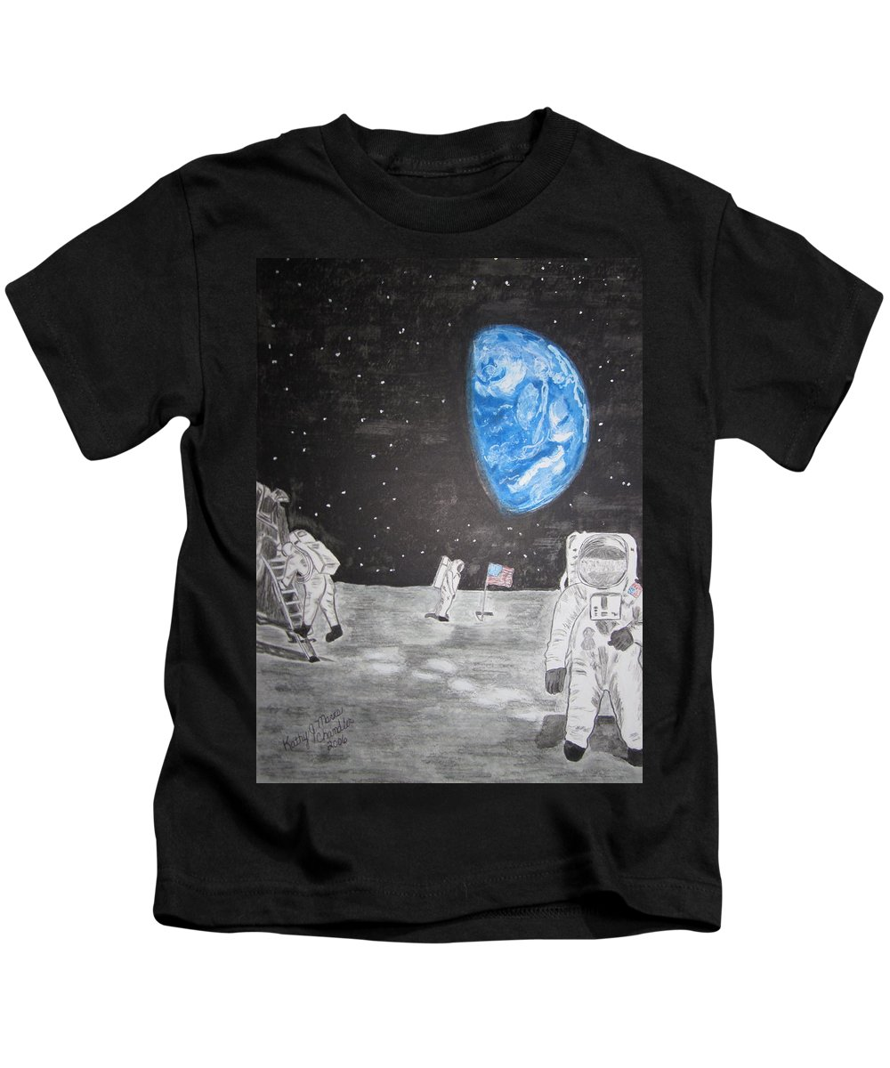 Stars Kids T-Shirt featuring the painting Man On The Moon by Kathy Marrs Chandler