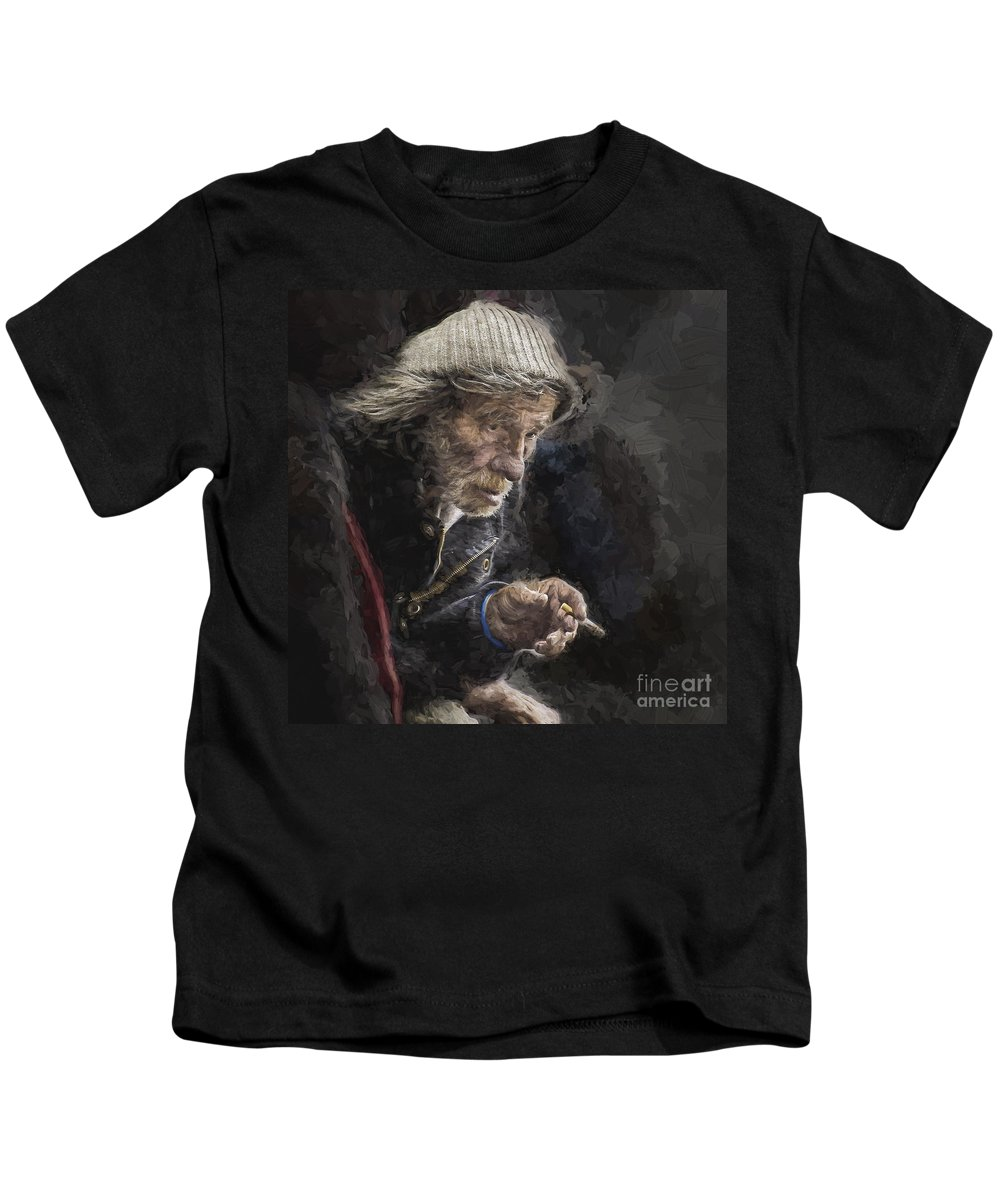 Homeless Kids T-Shirt featuring the photograph Man with cigarette by Sheila Smart Fine Art Photography