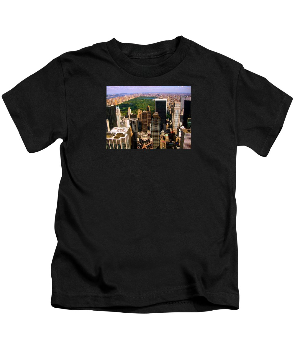 Manhattan Prints Kids T-Shirt featuring the photograph Manhattan And Central Park by Monique's Fine Art