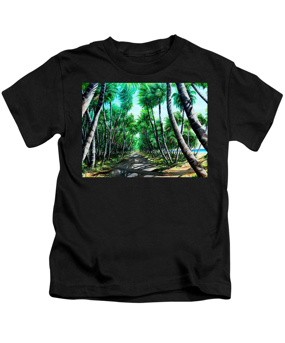 Coconut Trees Kids T-Shirt featuring the painting Manzanilla Coconut Estate by Karin Dawn Kelshall- Best
