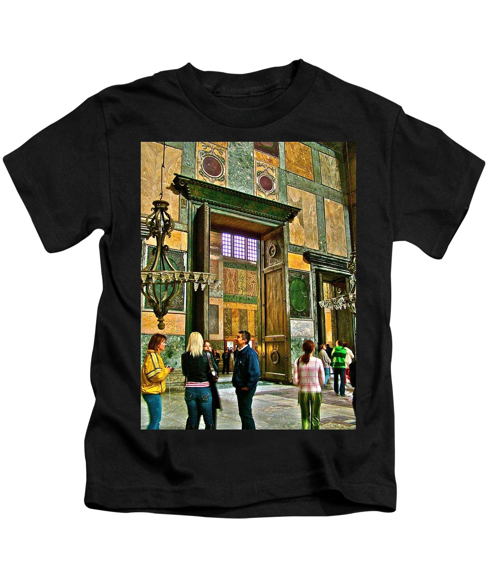 Marble Of Many Colors In Istanbul Kids T-Shirt featuring the photograph Marble Of Many Colors In Saint Sophia's In Istanbul-turkey by Ruth Hager