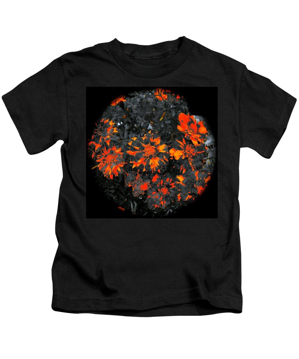 Flowers Kids T-Shirt featuring the photograph Marigold Fire by Tim G Ross