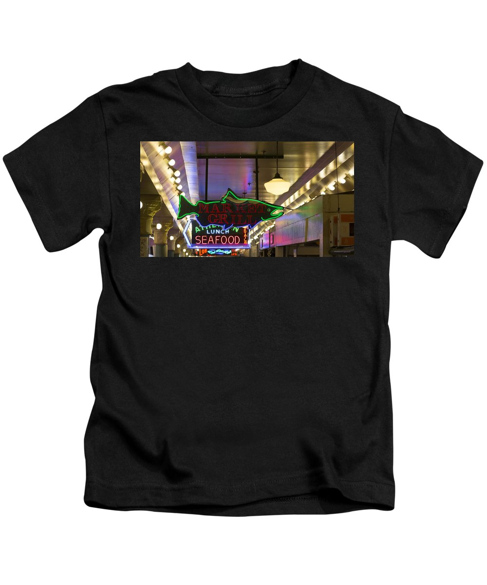 Sign Kids T-Shirt featuring the photograph Market Grill by Scott Campbell