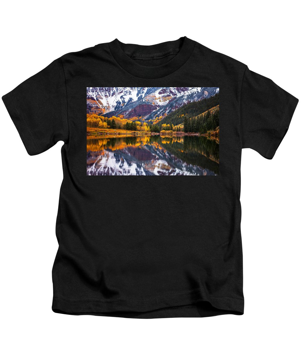 Snow Kids T-Shirt featuring the photograph Maroon Lake Backside by Darren White