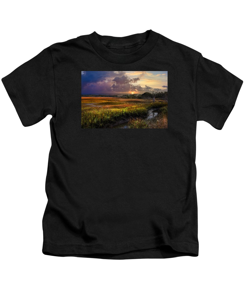 Clouds Kids T-Shirt featuring the photograph Marsh At Sunrise by Debra and Dave Vanderlaan