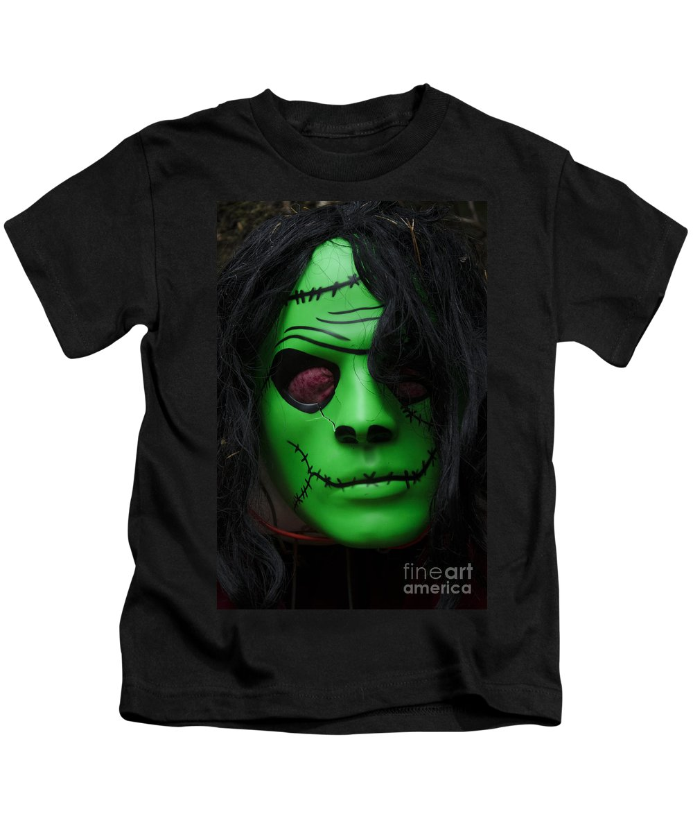 Mask Kids T-Shirt featuring the photograph Masks Fright Night 4 by Bob Christopher