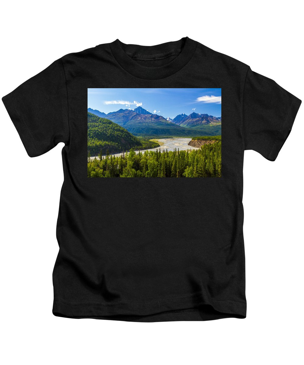 Alaska Kids T-Shirt featuring the photograph Matanuska River by Kyle Lavey