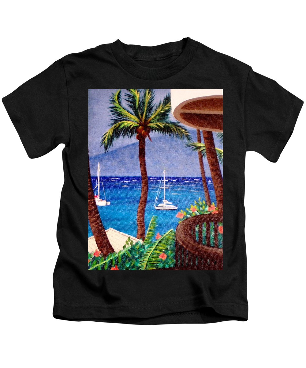 Hawaii Kids T-Shirt featuring the painting Maui by Liz Boston