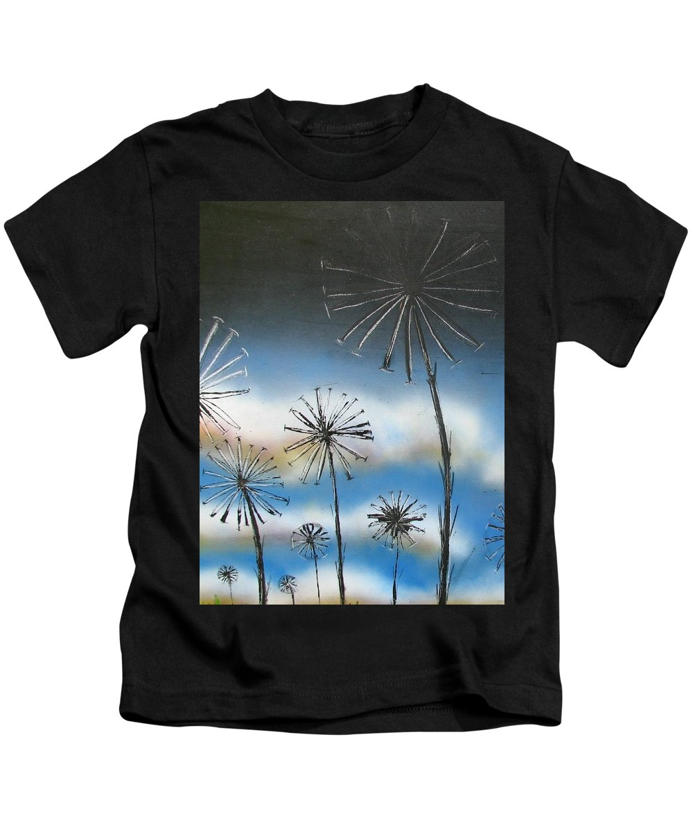Meadow Kids T-Shirt featuring the painting Meadow At Dawn by Joan Stratton