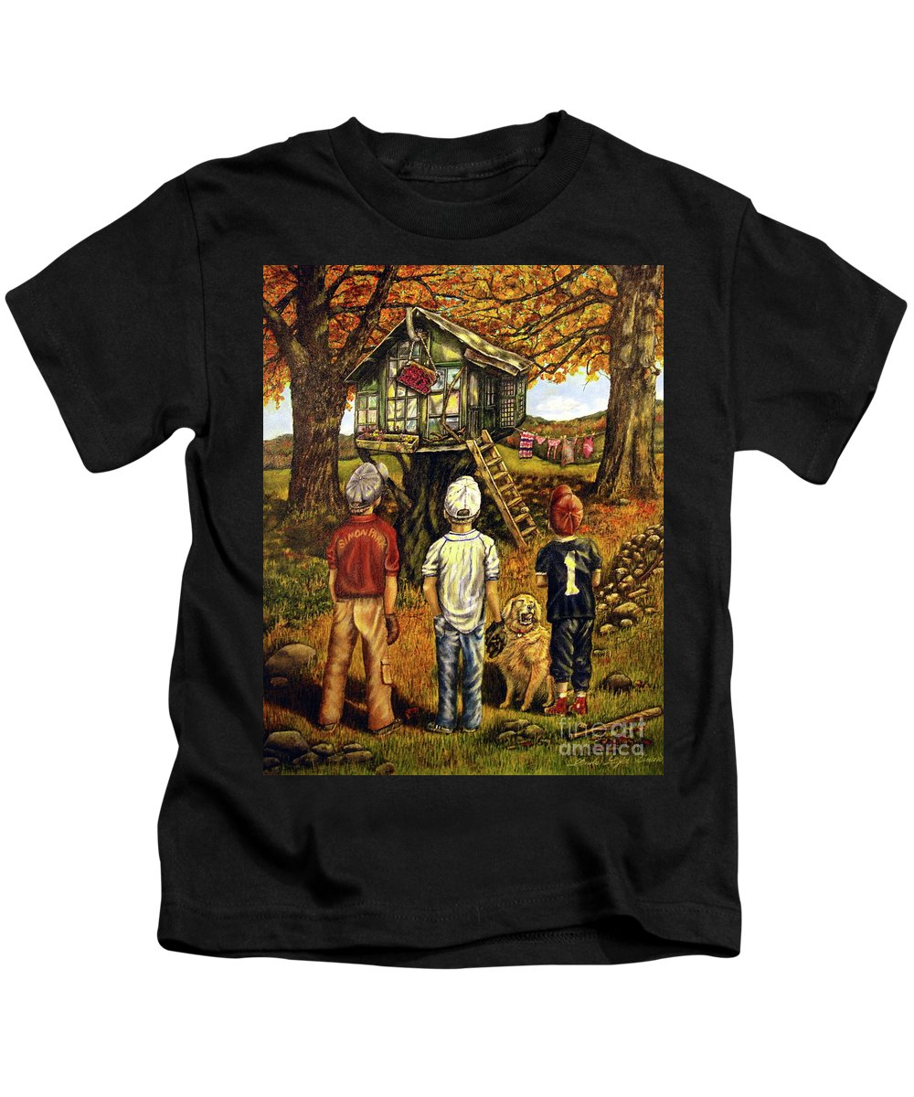 Trees Kids T-Shirt featuring the painting Meadow Haven by Linda Simon