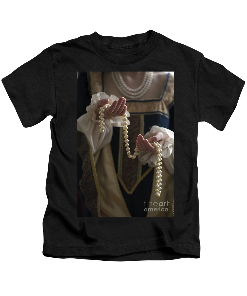 Woman Kids T-Shirt featuring the photograph Medieval Or Tudor Woman Holding A Pearl Necklace by Lee Avison