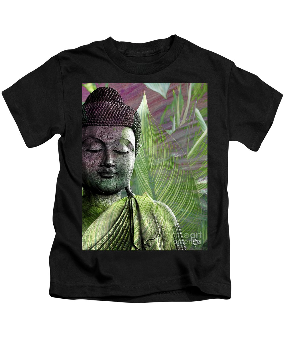 Buddha Kids T-Shirt featuring the mixed media Meditation Vegetation by Christopher Beikmann