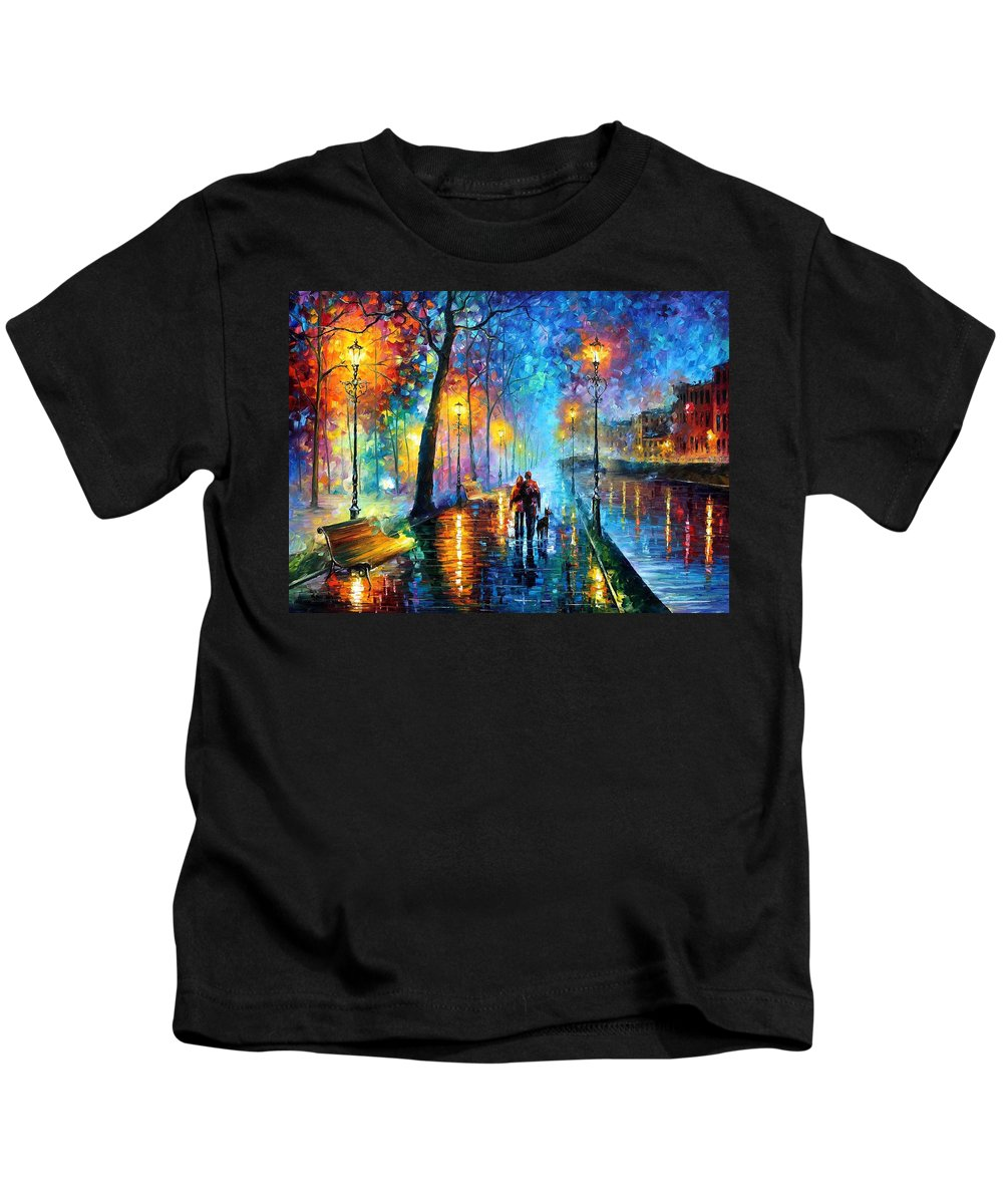 Leonid Afremov Kids T-Shirt featuring the painting Melody Of The Night - PALETTE KNIFE Landscape Oil Painting On Canvas By Leonid Afremov by Leonid Afremov