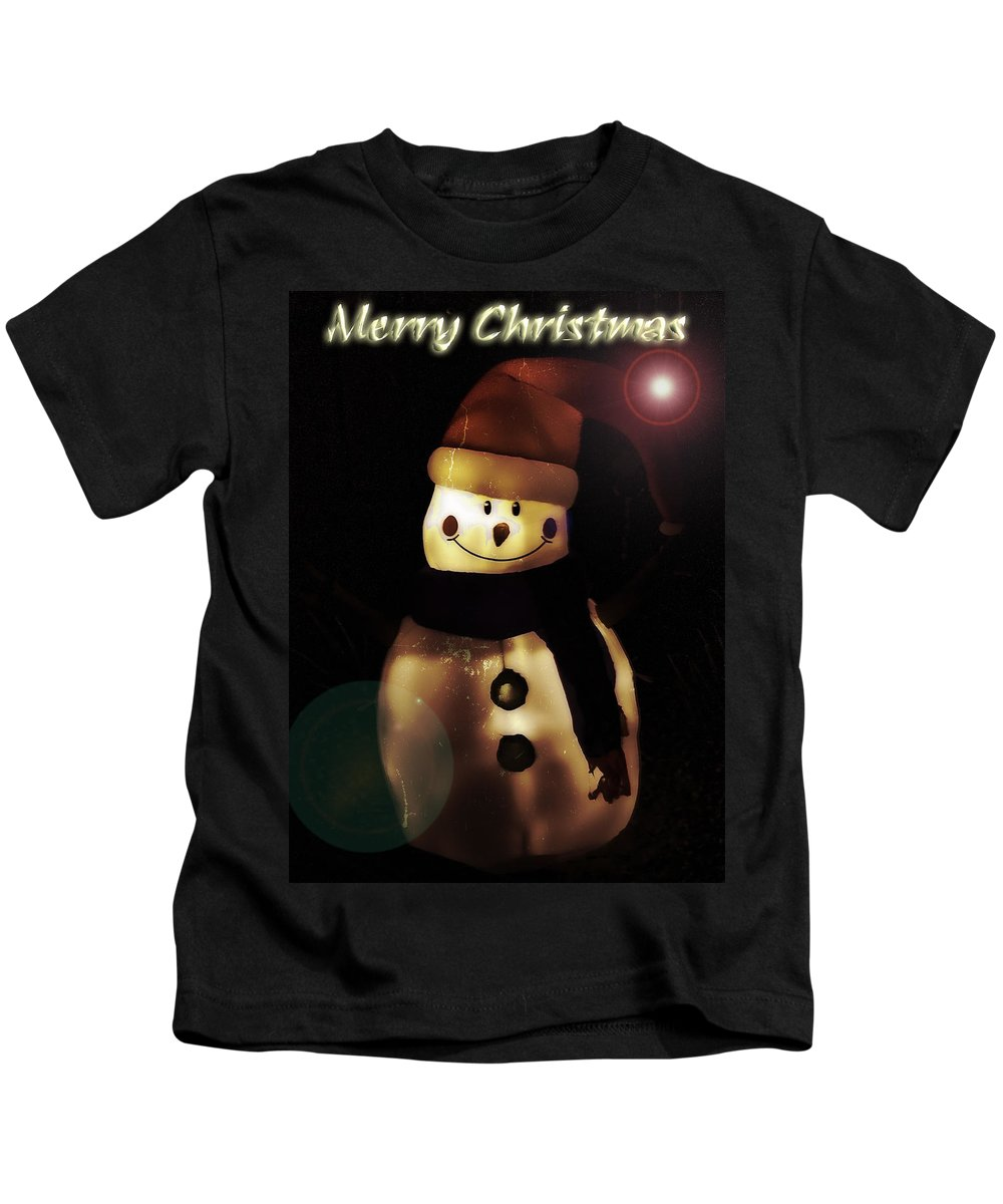 Snowman Kids T-Shirt featuring the photograph Merry Christmas Snowman by Saija Lehtonen