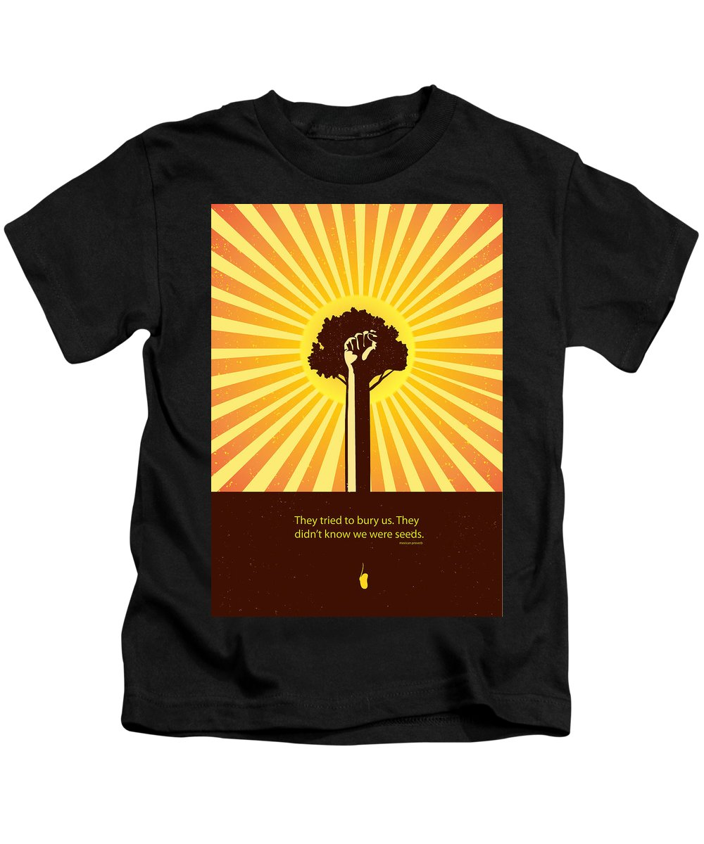 Quotes Kids T-Shirt featuring the painting Mexican Proverb Minimalist Poster by Sassan Filsoof