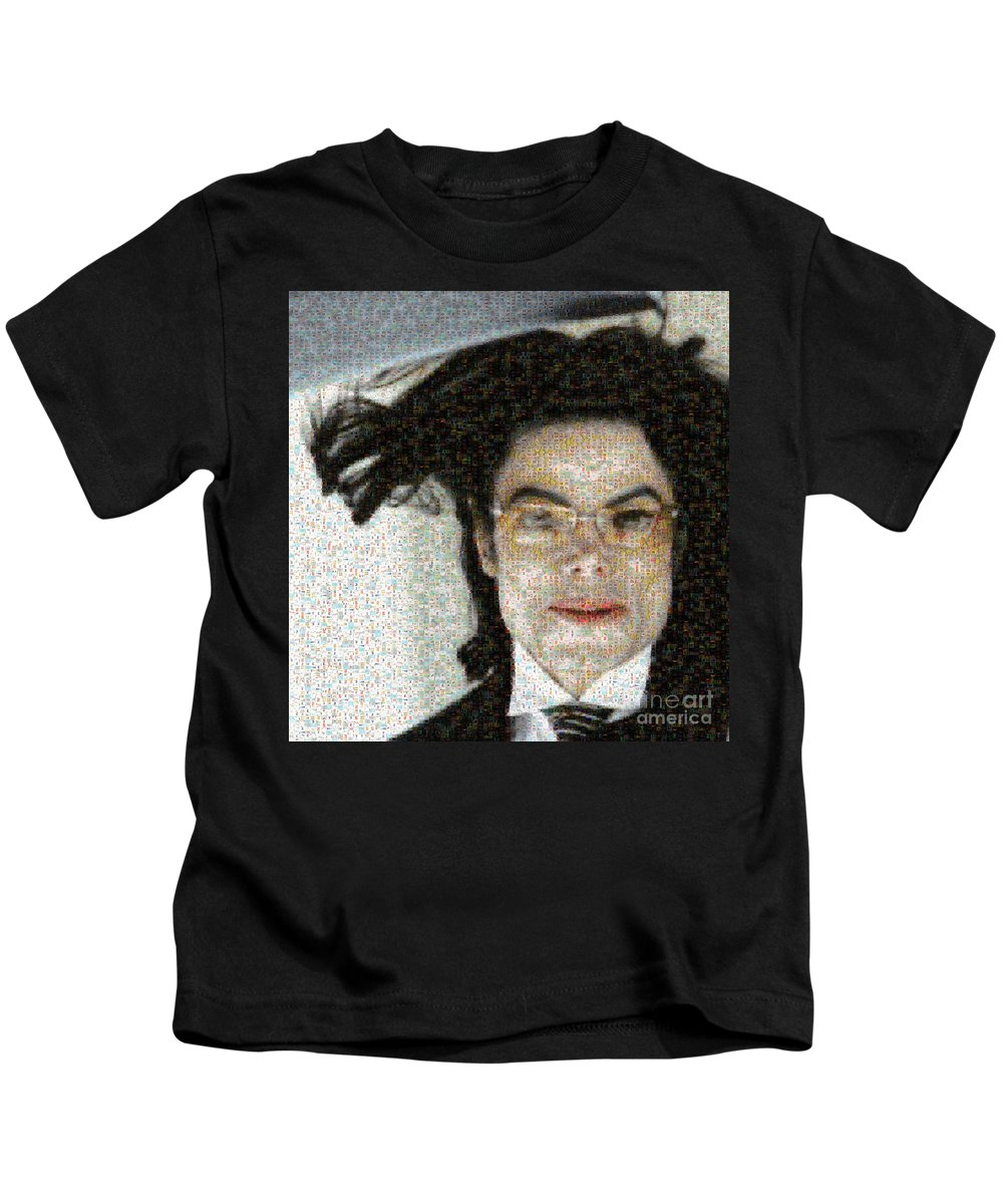 Michale Kids T-Shirt featuring the digital art Michael Jackson - Fly Away Hair Mosaic by Paulette B Wright
