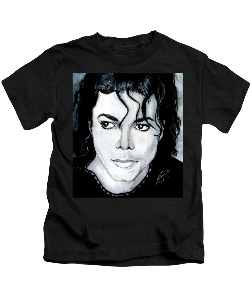 Michael Jackson Kids T-Shirt featuring the painting Michael Jackson Portrait by Alban Dizdari