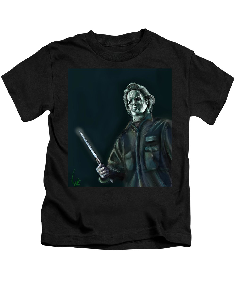 Michael Myers Kids T-Shirt featuring the drawing Michael Myers by Vinny John Usuriello