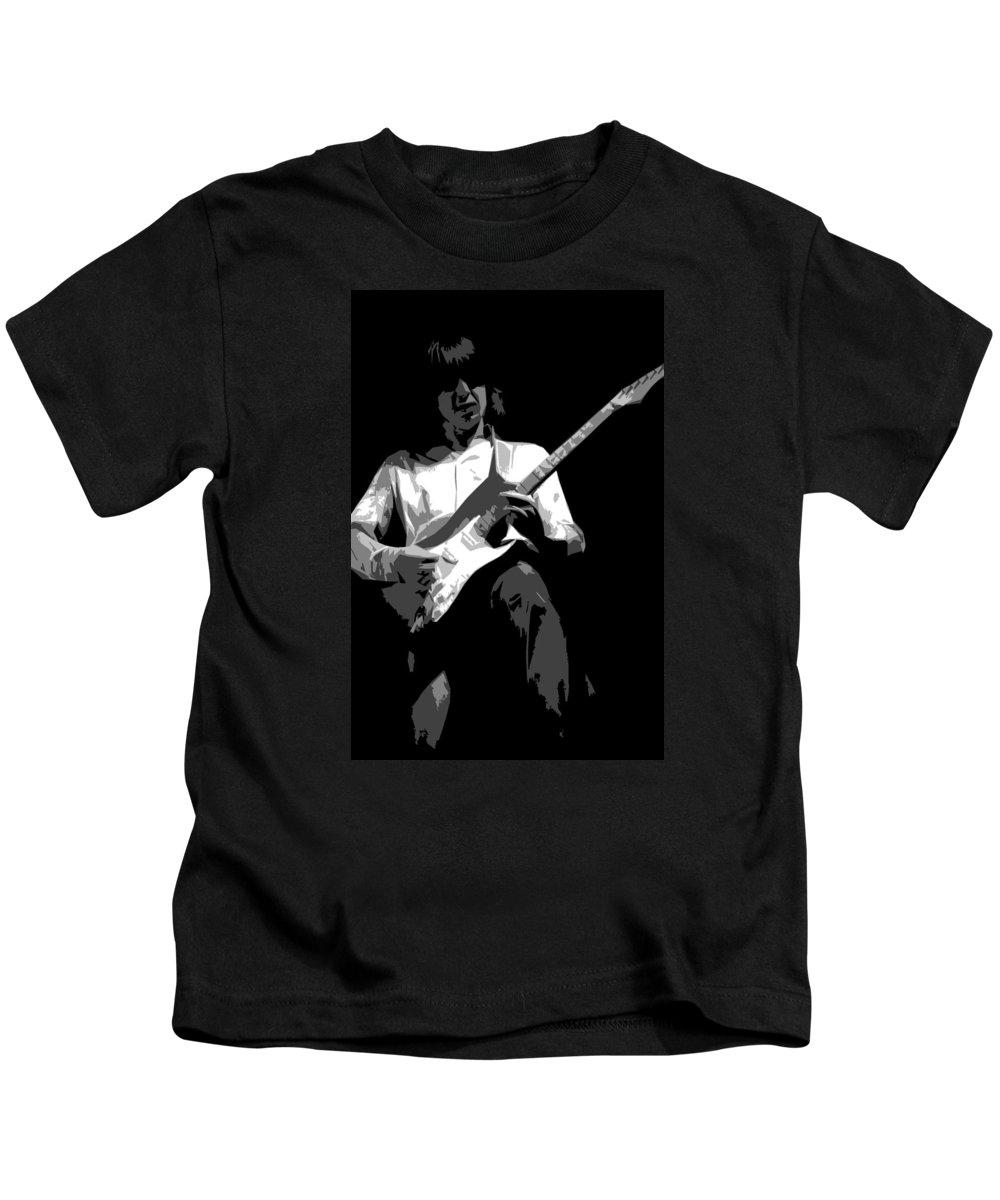 Mick Ralphs Kids T-Shirt featuring the photograph Mick Art 1 by Ben Upham