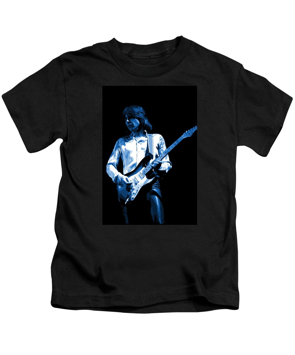 Mick Ralphs Kids T-Shirt featuring the photograph Mick Plays The Blues 1977 by Ben Upham
