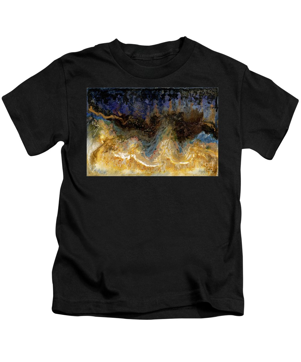 Glass Paint Kids T-Shirt featuring the painting Midnight Beach 2 by Nadine Rippelmeyer