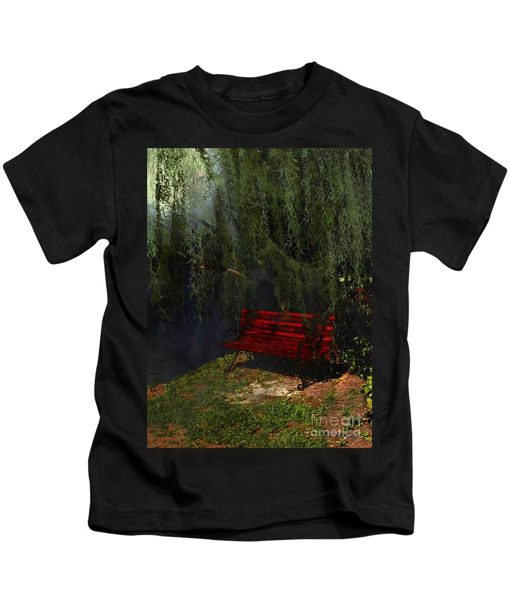 Bench Kids T-Shirt featuring the painting Midnight In The Garden Of Good And Evil by RC DeWinter