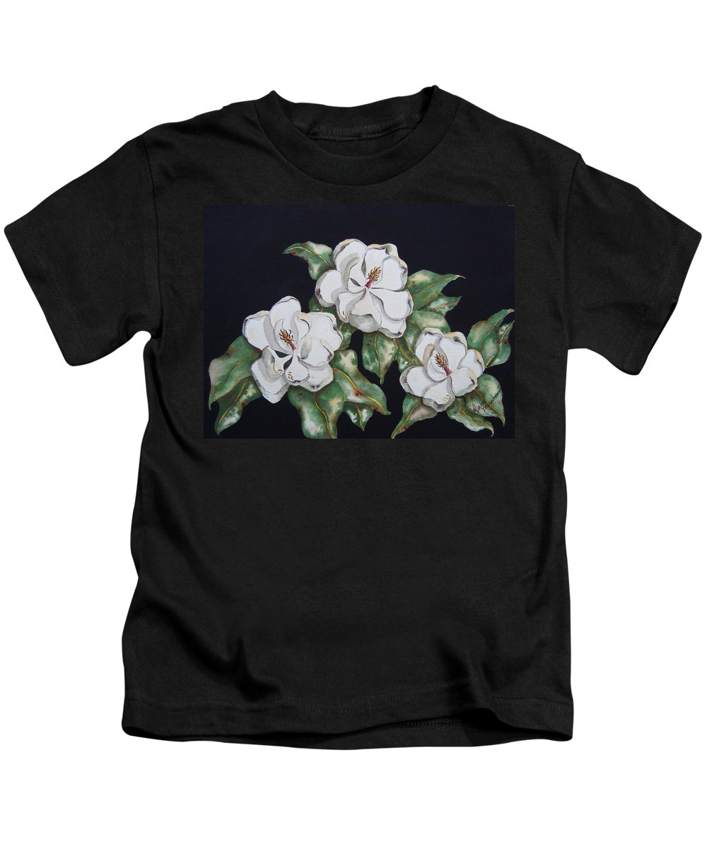 Magnolias Kids T-Shirt featuring the painting Midnight Magnolia by Carol Lindquist