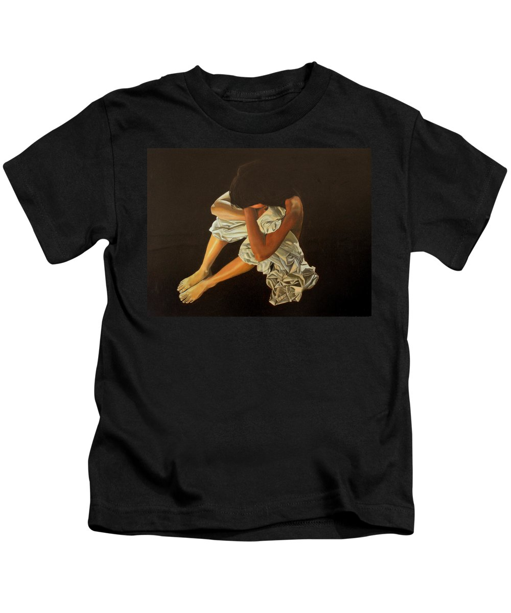 Figure Kids T-Shirt featuring the painting Midnight by Thu Nguyen