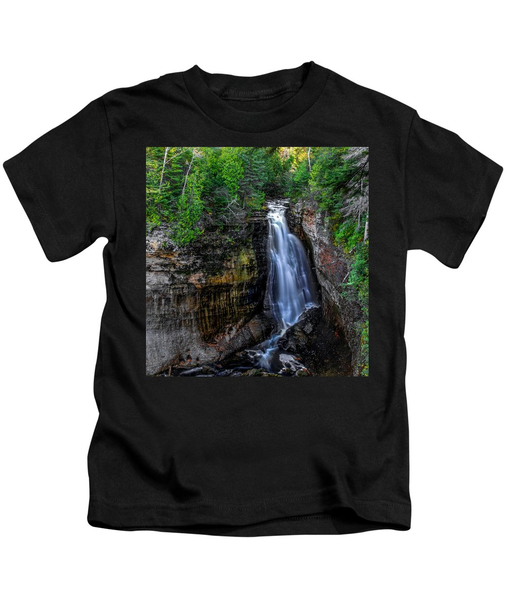 Optical Playground By Mp Ray Kids T-Shirt featuring the photograph Miners Falls I by Optical Playground By MP Ray