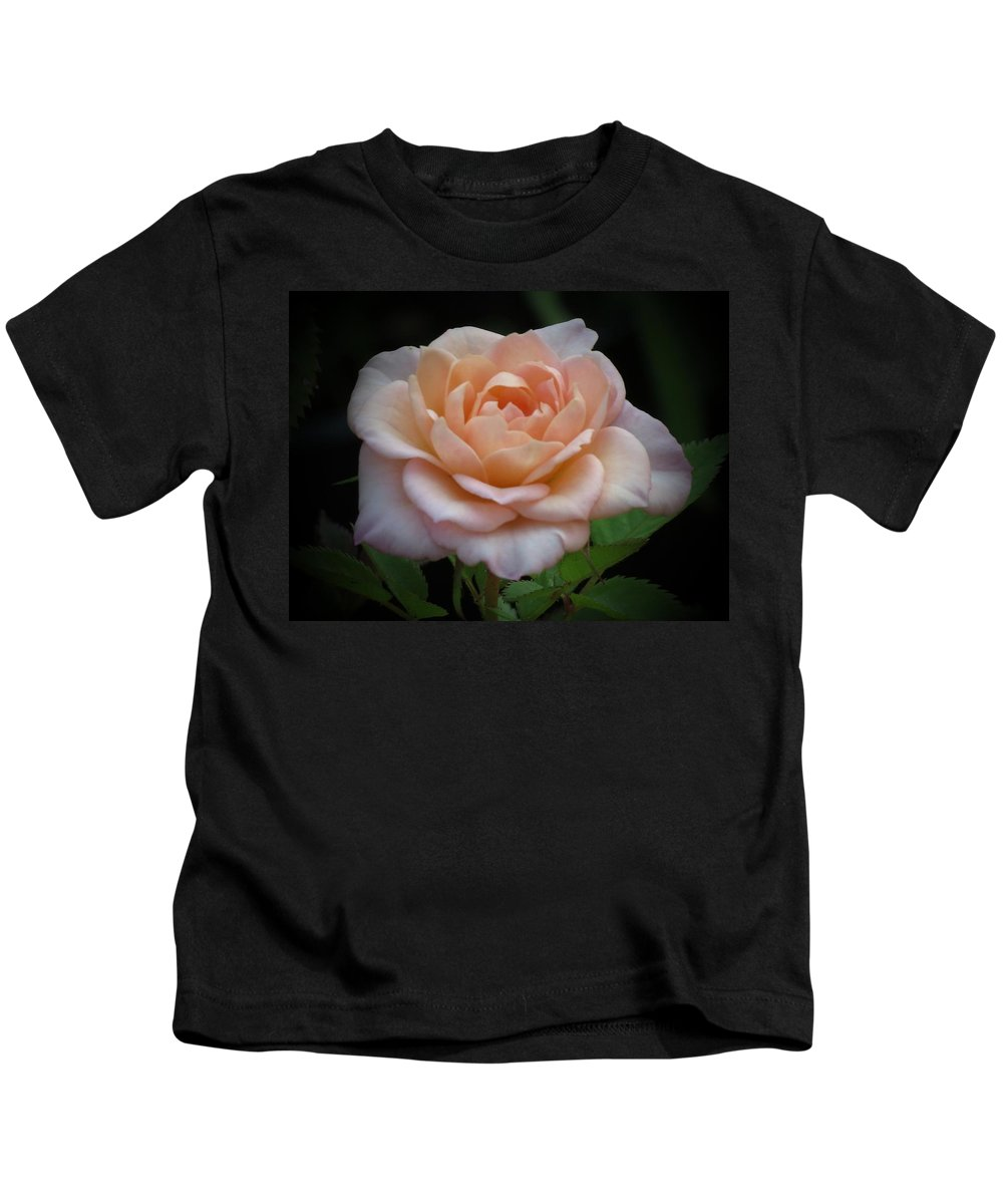 Peachy Pink Rose Kids T-Shirt featuring the photograph Mini Rose by MTBobbins Photography