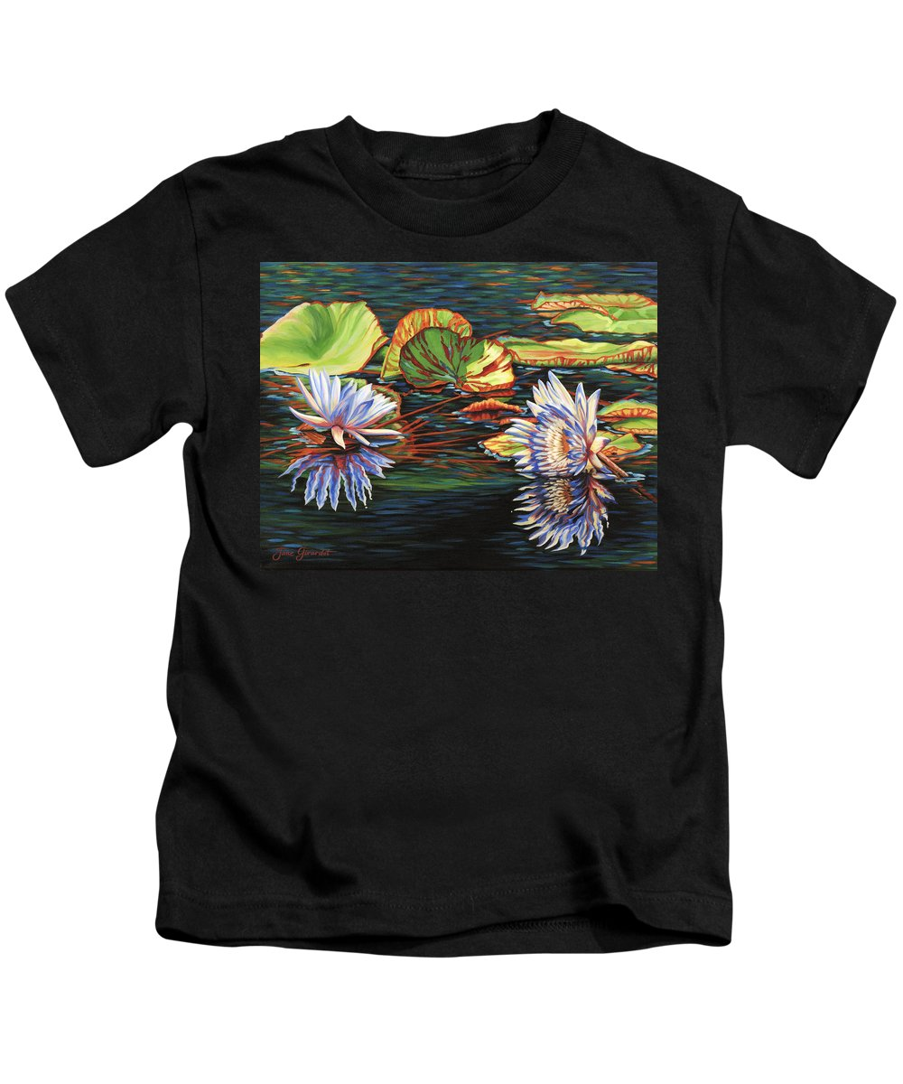 Lily Lilies Water Pond Pad Flower Flowers Floral Lake Kids T-Shirt featuring the painting Mirrored Lilies by Jane Girardot