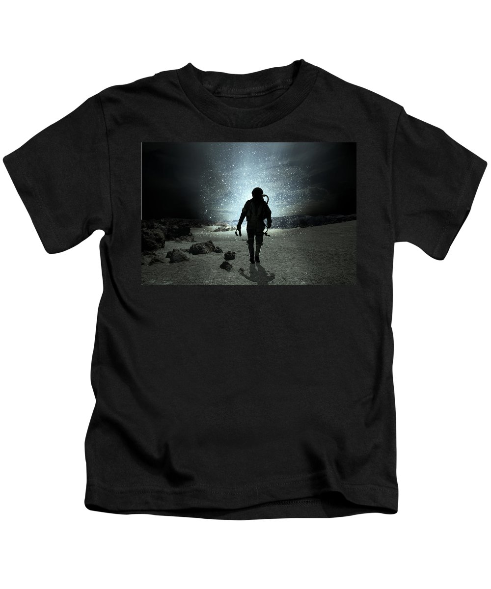 Planet Kids T-Shirt featuring the digital art Mission Completed by Ma Bu