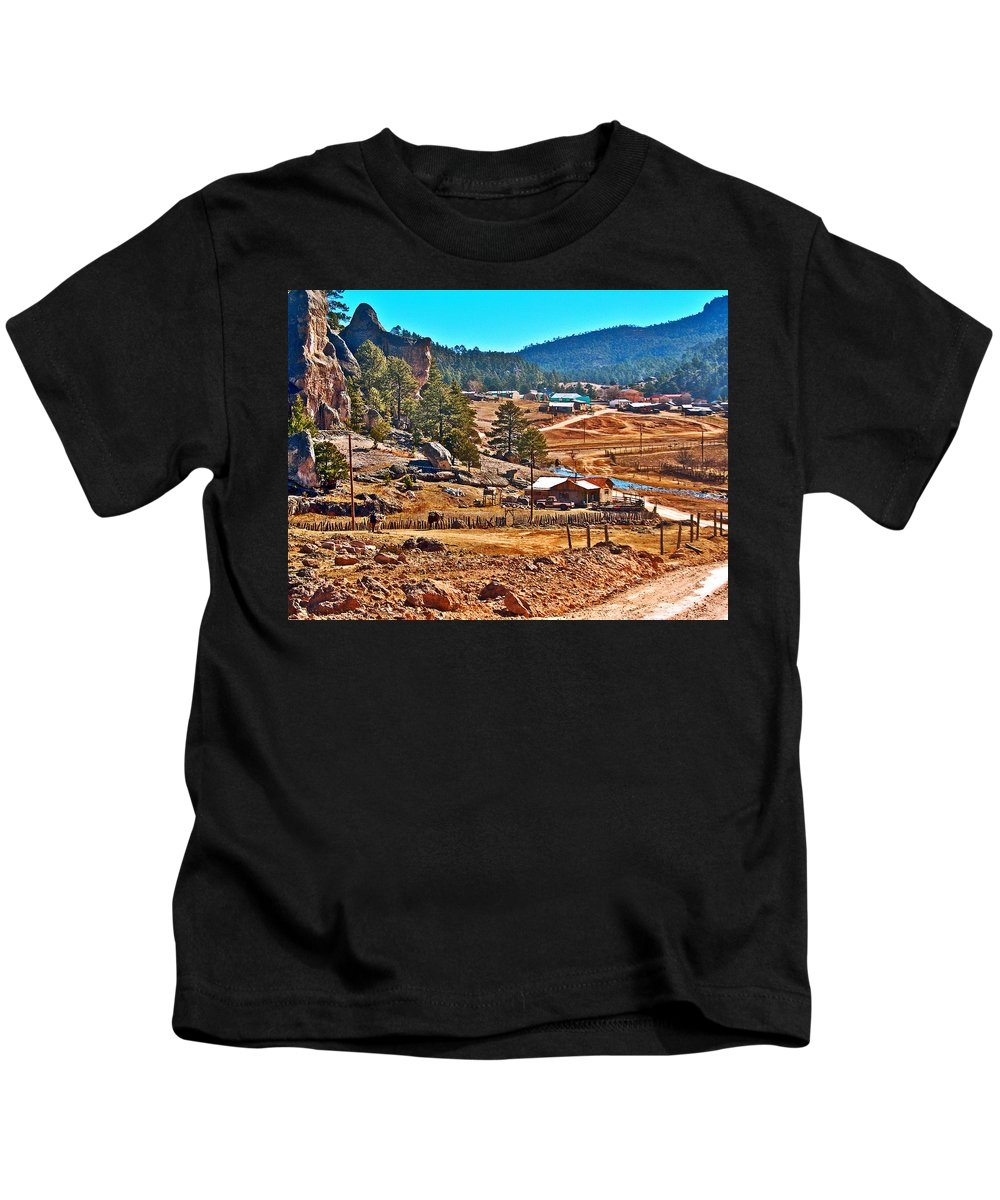 Mission Cusarare Tarahumara Village In Chihuahua Kids T-Shirt featuring the photograph Mission Cusarare Tarahumara Village In Chihuahua-mexico by Ruth Hager