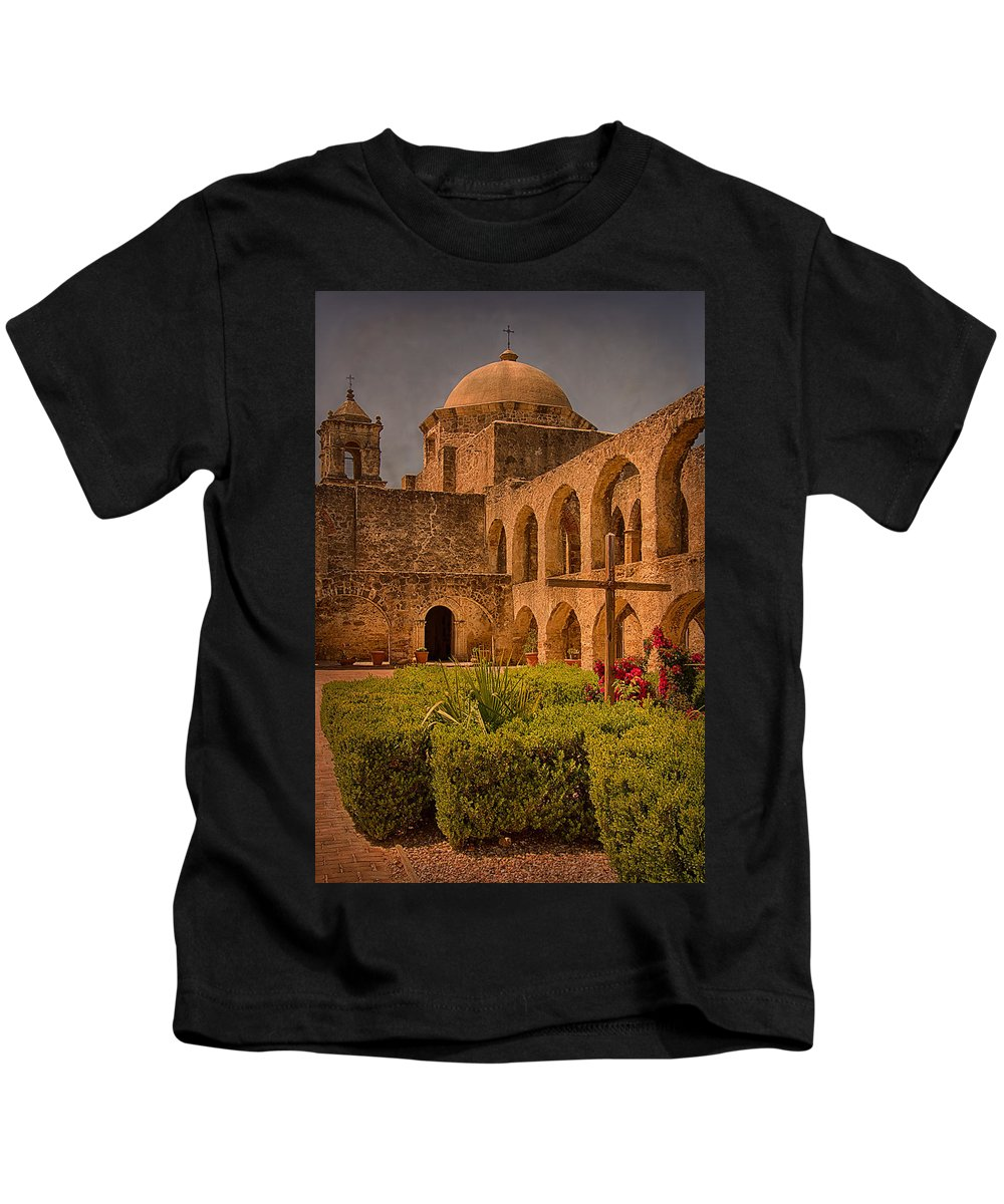 Church Kids T-Shirt featuring the photograph Mission San Jose Church by Priscilla Burgers
