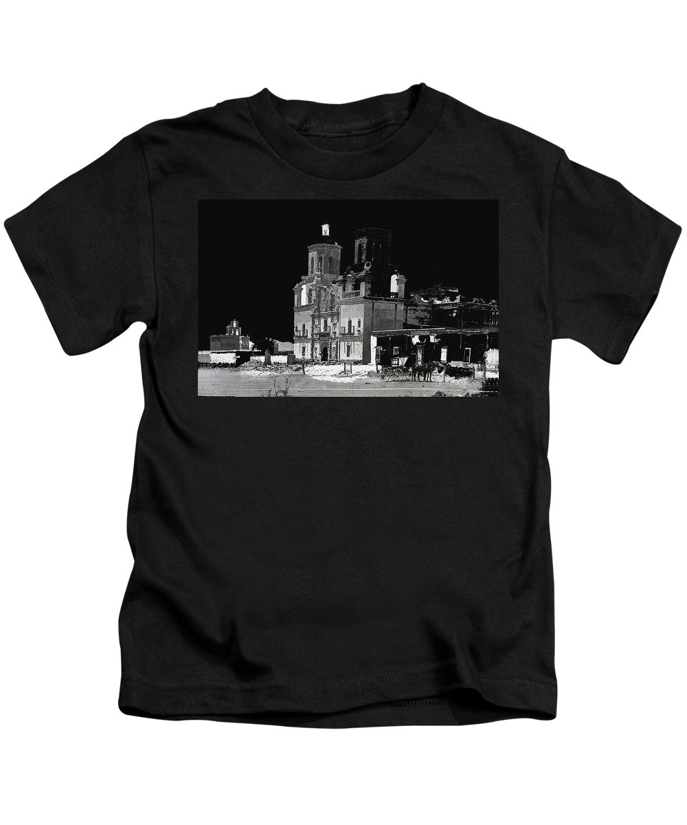 Mission San Xavier Del Bac Tucson Arizona C. 1890 Ted Degrazia Tohono O'odham Indian Reservation Kids T-Shirt featuring the photograph Mission San Xavier Del Bac Tucson Arizona C. 1890-2013 by David Lee Guss